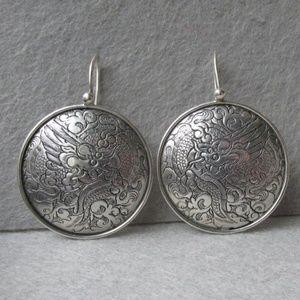 Retired Silpada siler Dragon Hoop earrings